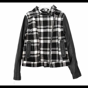 Boy Meets Girl Black Plaid Vegan Leather coat